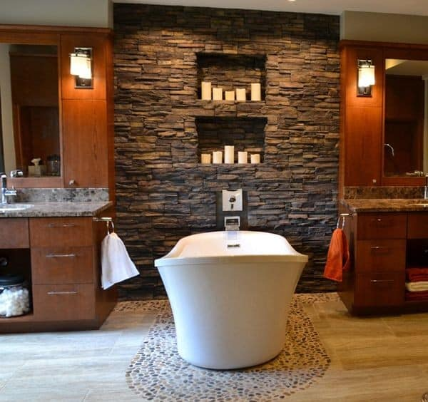 stone you can use brickwork forming an accent wall in the bathroom