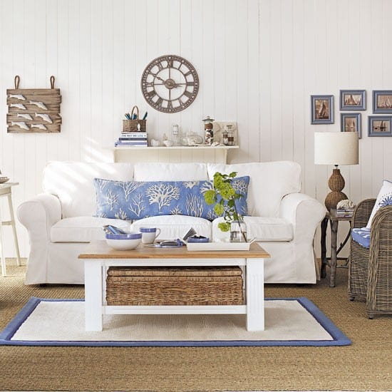 Nautical Living Room Ideas Nautical blue and white study with