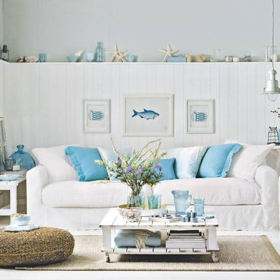Living room decorating ideas in nautical decor for Living room ideas decor