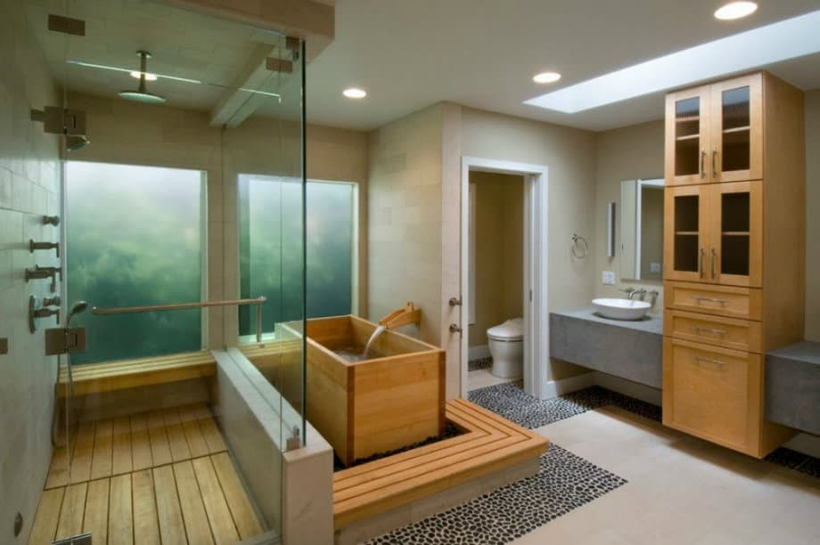 Bathroom design ideas japanese style bathroom for Salle de bain rectangulaire 9m2
