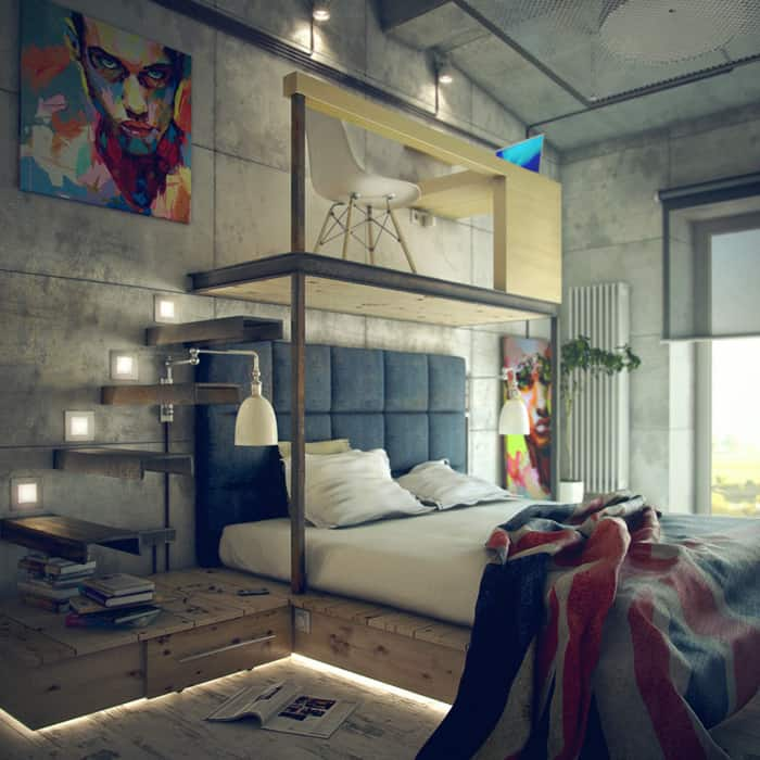 Bedroom interior design loft bedroom for Bedroom door ideas loft apartment