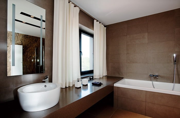 Ultra modern bathroom tiles for Brown bathroom designs