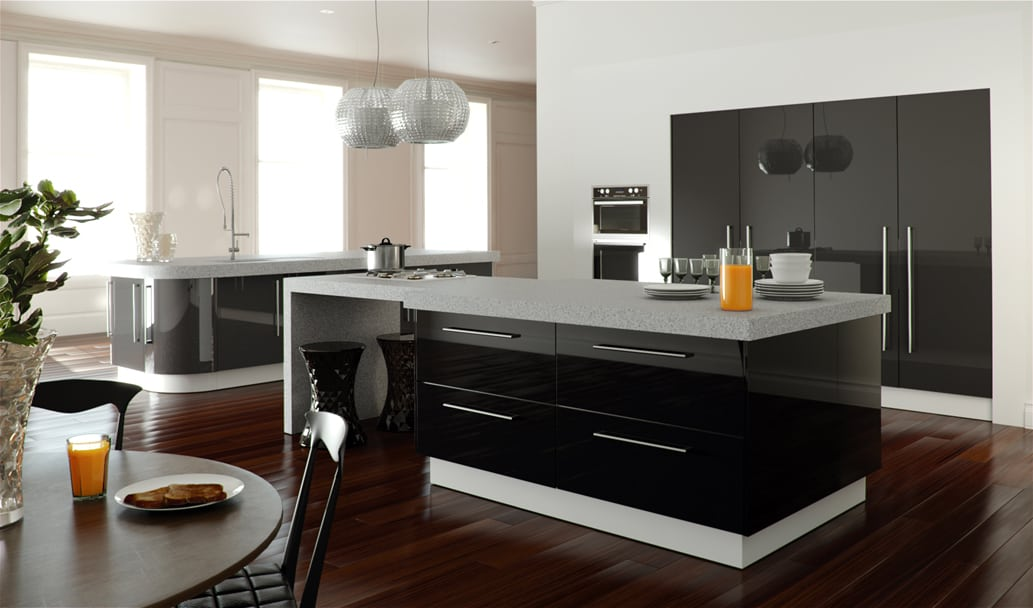 Kitchen decorating ideas black kitchen for Black contemporary kitchen