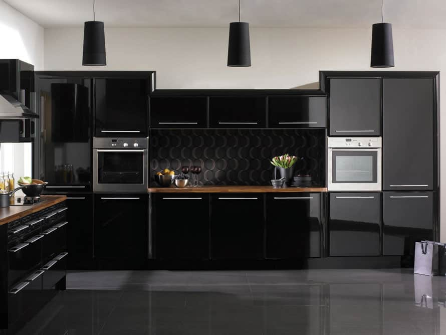 Kitchen decorating ideas black kitchen house interior - Black kitchen cabinets ideas ...