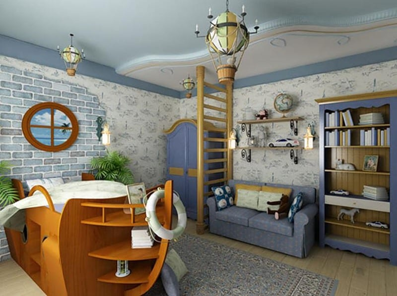 Nautical decor in interior design for Ocean themed interior design