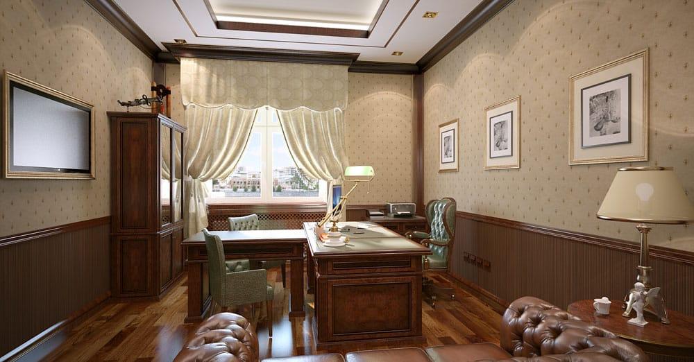 Office decor ideas classic office design house interior for Office interior decorating ideas