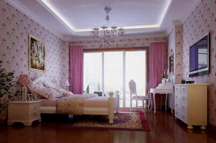 Pink bedroom ideas - Gorgeous bedroom decoration with various sliding bed table ideas ...