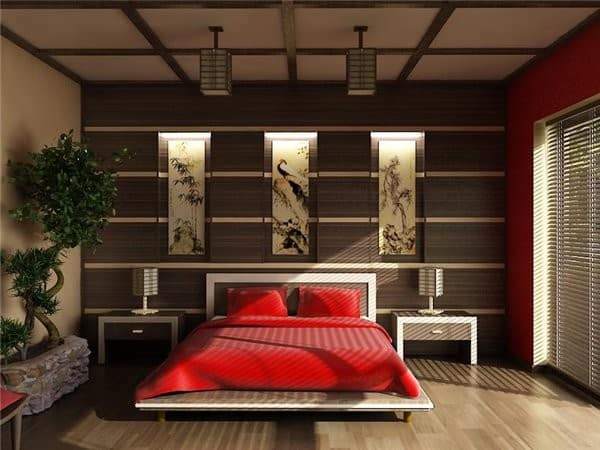 Ideas for bedrooms japanese bedroom for Suhagrat bed decoration design