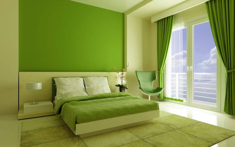 Bedroom interior design green bedroom for Interior design 7