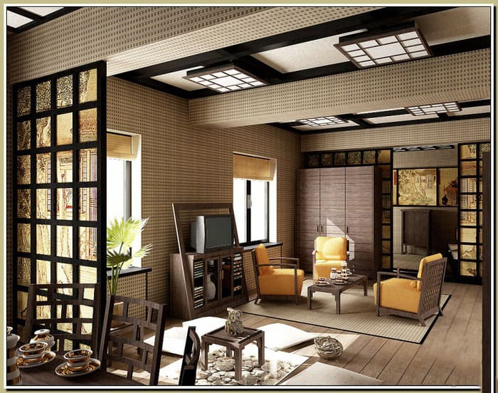 Japanese interior design japanese living room house for Japanese indoor design