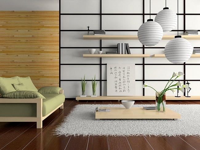 Japanese interior design japanese living room for Japanese home decorations