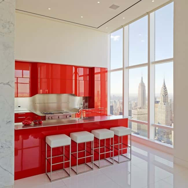 Kitchen design ideas red kitchen for Red kitchen designs photo gallery