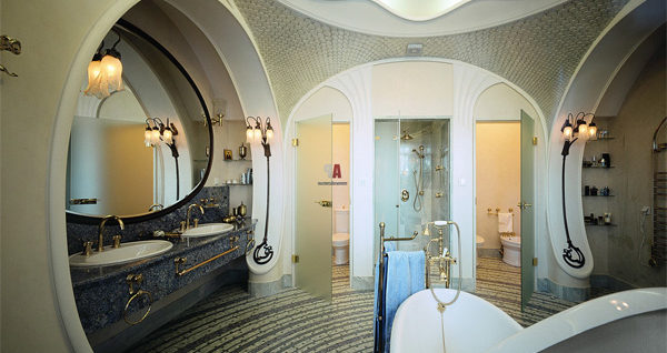 Art nouveau design house interior for Art nouveau bathroom design