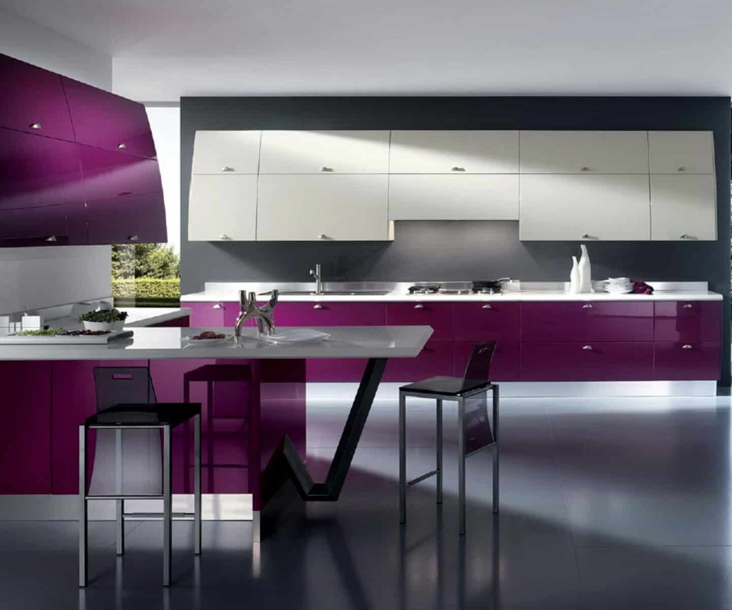 Interior design trends 2017 purple kitchen house interior for Modern kitchen 2017