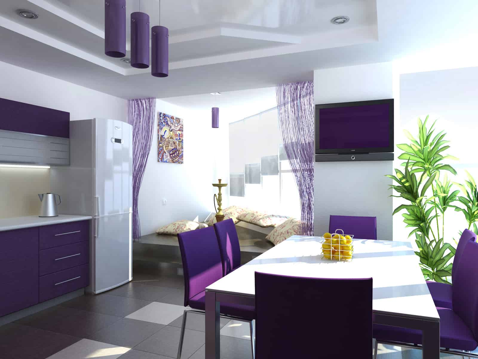 Interior design trends 2017 purple kitchen Home interior design ideas for kitchen