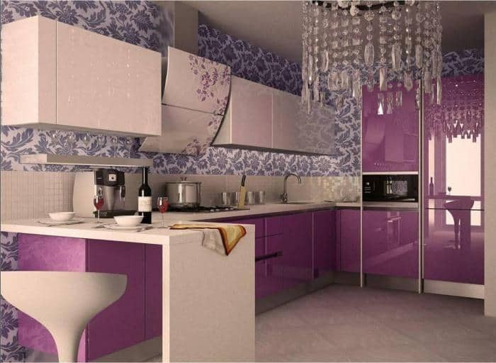Кухня фиолетовая белая  № 1839122 бесплатно