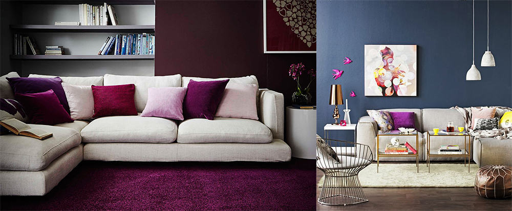 Berry and Navy blue shades in Living room 2020