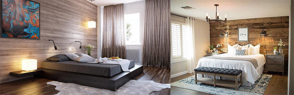 Wood finishing in bedroom design 2020