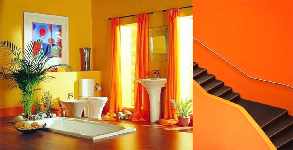 Orange-yellow-Interior-color-combinations-home-trends-2018-interior-color-schemes-Home trends 2018