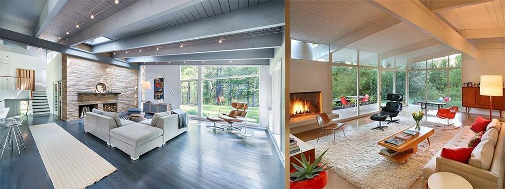 Panoramic-windows-Mid-century-interior-home-design-ideas-mid-century-decor-Mid century decor