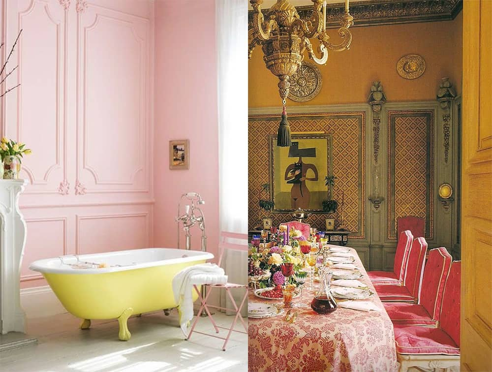 Pink-yellow-Interior-color-combinations-home-trends-2018-interior-color-schemes-Home trends 2018