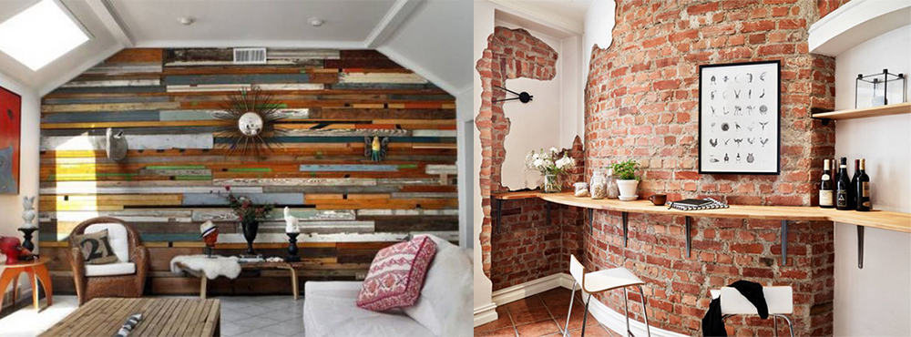 Wooden panels brickwork home interiors 2018 diy decor