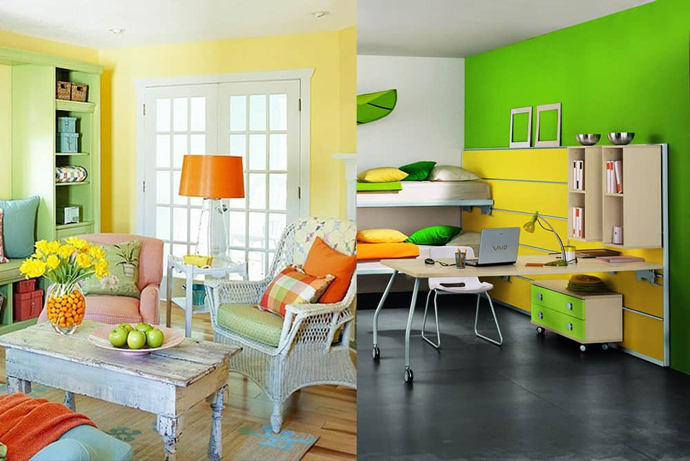 Yellow-green-Interior-color-combinations-home-trends-2018-interior-color-schemes-interior color schemes