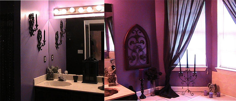 Contemporary bathroom design magic purple bathroom ideas for Gothic bathroom ideas