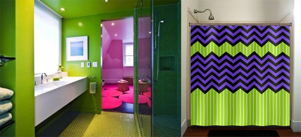 Purple and green bathroom ideas for Lime green bathroom ideas pictures