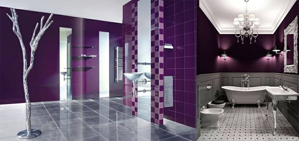 Contemporary bathroom design magic purple bathroom ideas for Grey silver bathroom accessories