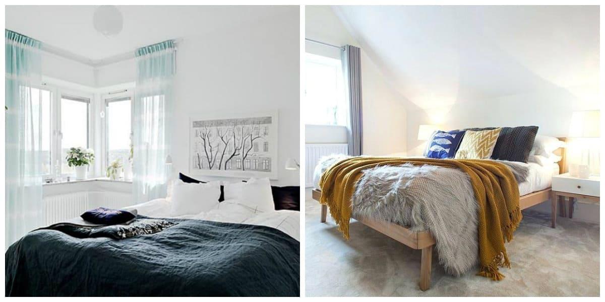 Scandinavian style bedroom, avoid decorative furniture in Scandinavian style bedroom