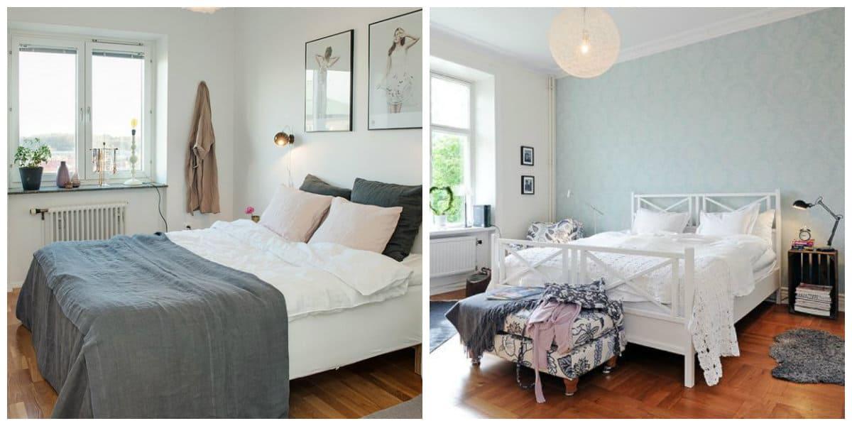 Scandinavian style bedroom, light colors in Scandinavian style bedroom