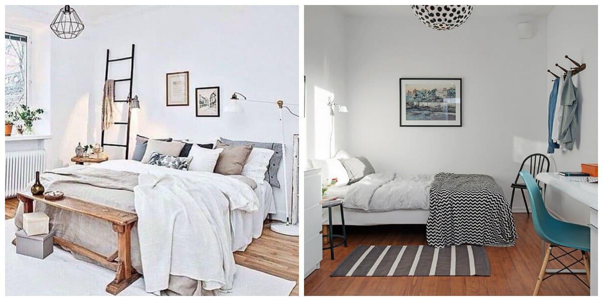 Scandinavian style bedroom, natural floor covering in Scandinavian style bedroom