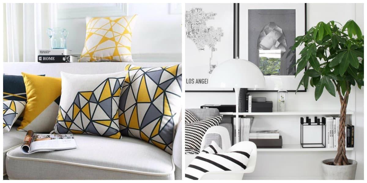Scandinavian style bedroom, pillows in Scandinavian style bedroom, plants in Scandianvian style bedroom