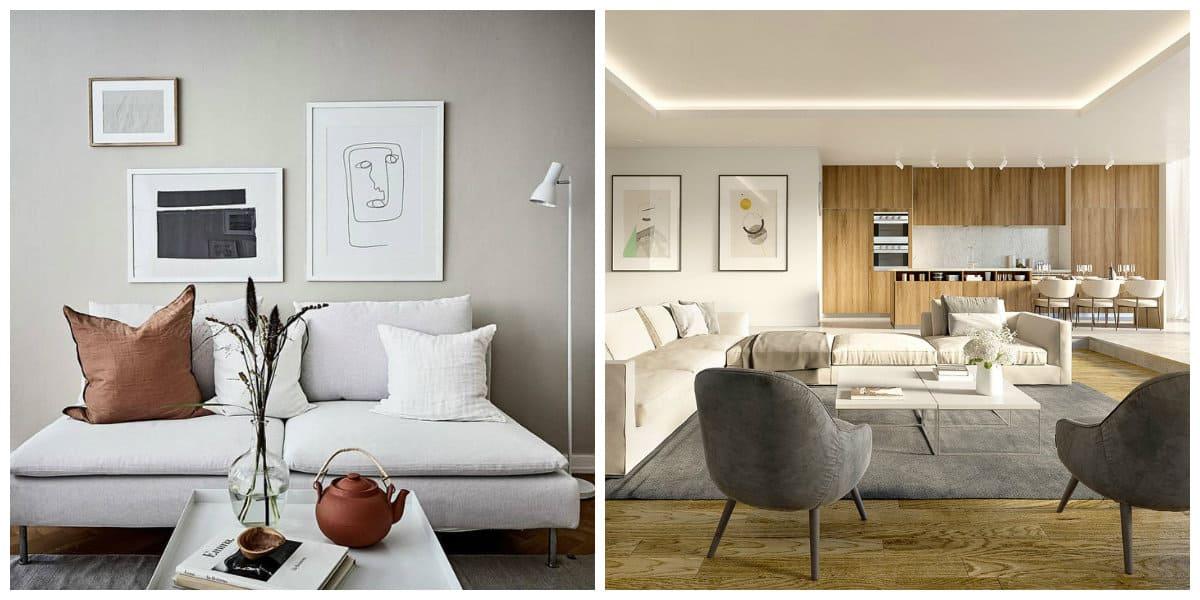 Scandinavian style interior, balanced geometry, warm color accent