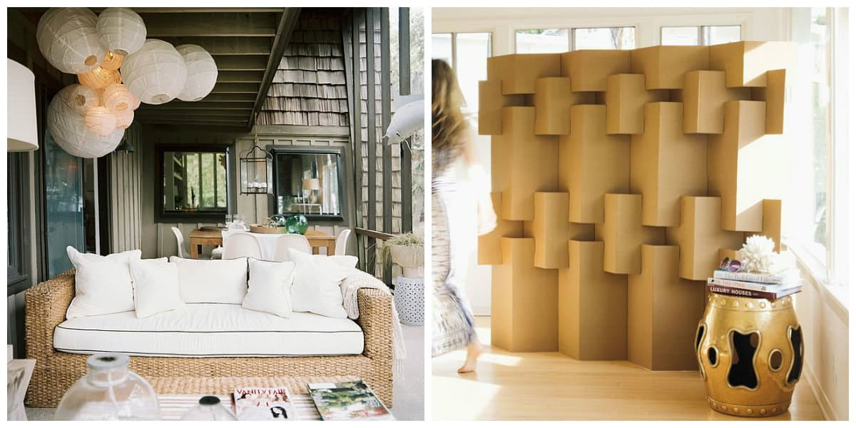 Scandinavian style interior, paper lamps, cardboard partitions