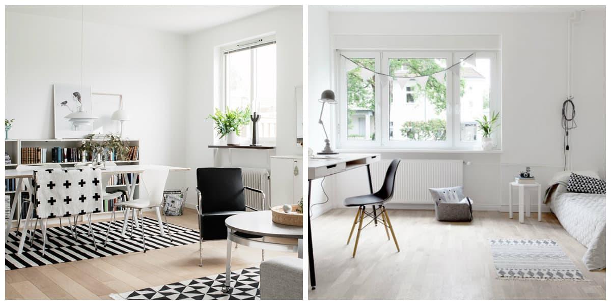 Scandinavian style interior, free space, combined rooms in Scandinavian style interior