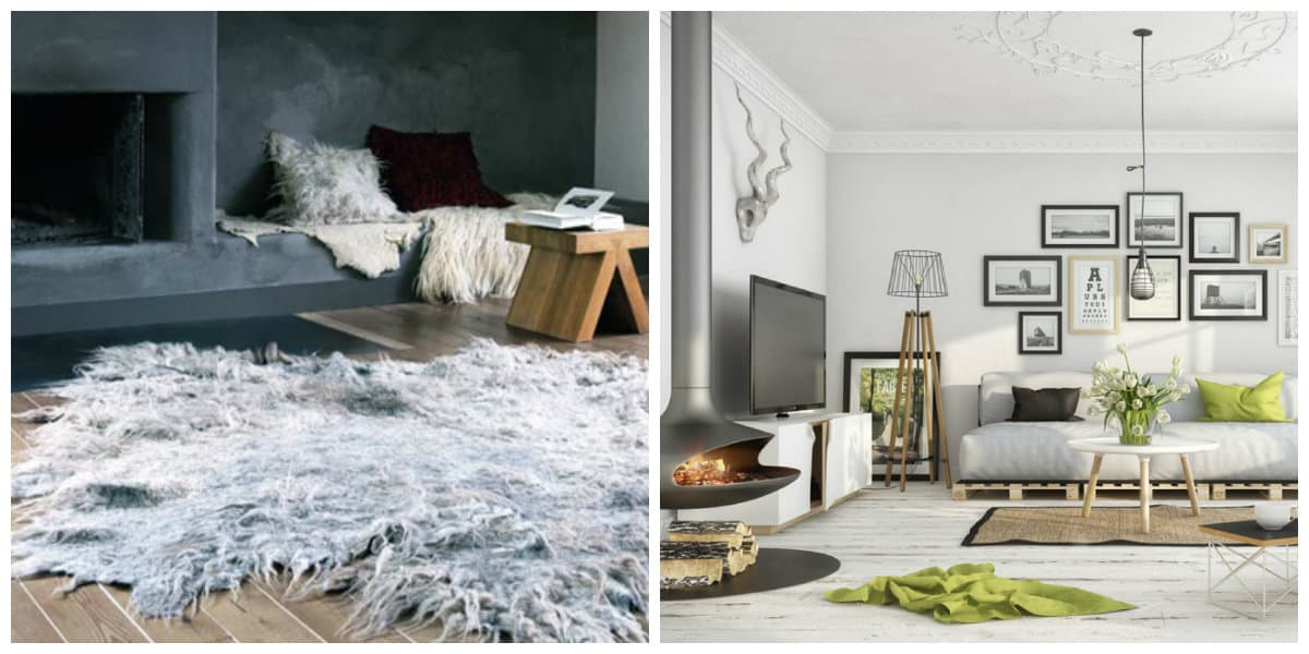 Scandinavian style interior, furs and carpets in Scandinavian style interior