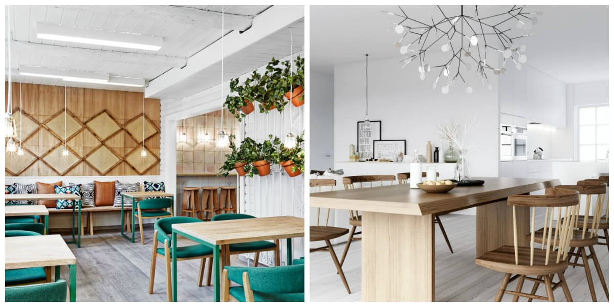 Scandinavian style interior, lighting ideas, eco decoration in Scandinavian style interior