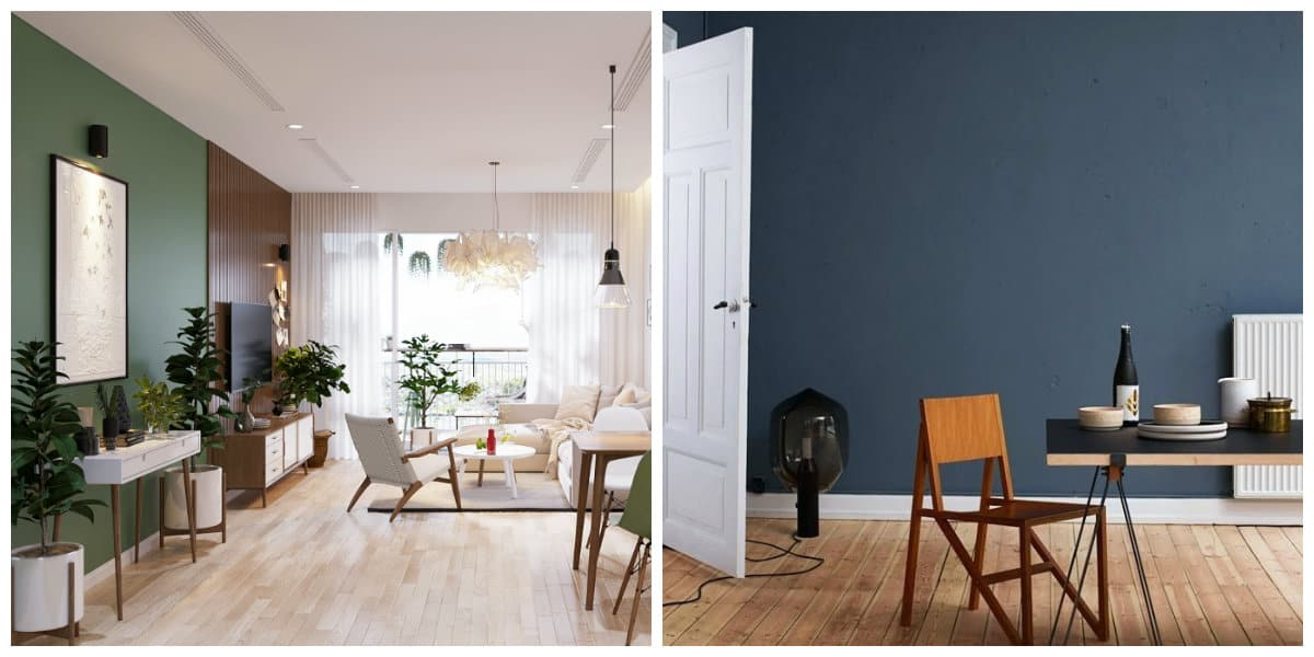 Scandinavian style interior, trendy colors in Scandinavian style interior