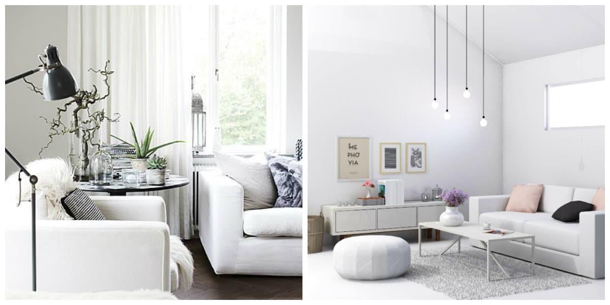 Scandinavian style interior, white furniture in Scandinavian style interior