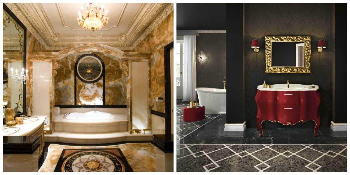 Italian style bathroom, Baroque style Italian bathroom