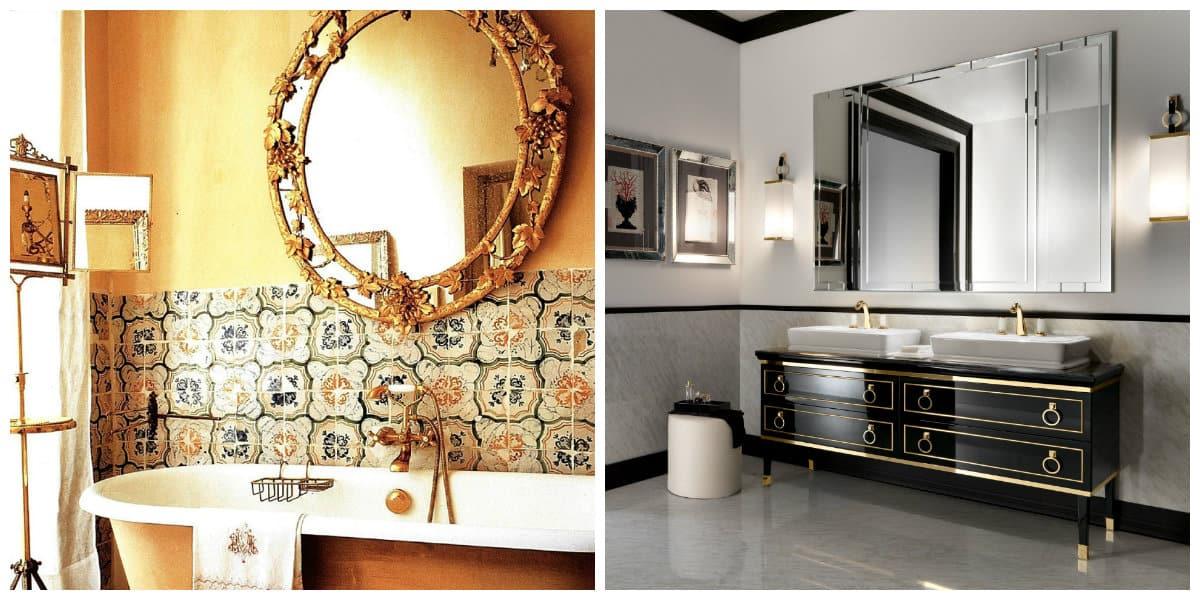 Italian style bathroom, Venetian mirrors in Italian style bathroom