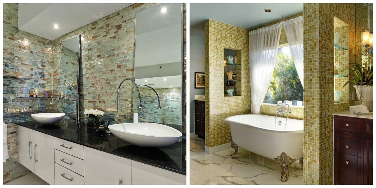 Italian style bathroom, mosaic tiles in Italian style bathroom