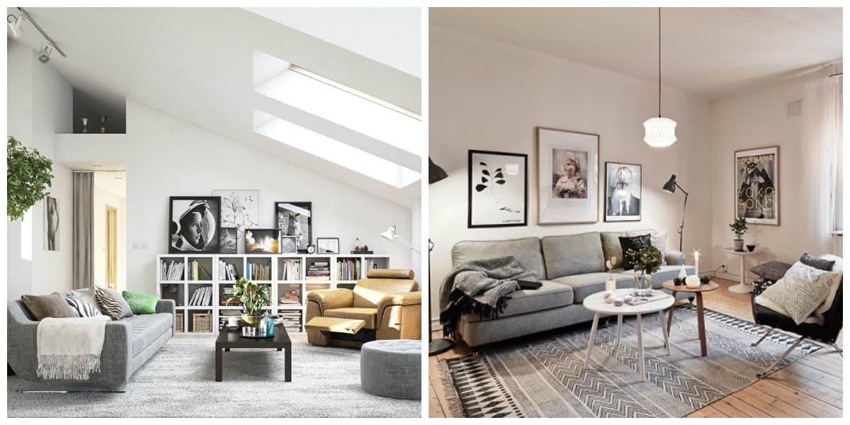 Scandinavian home design, Scandinavian style living room design