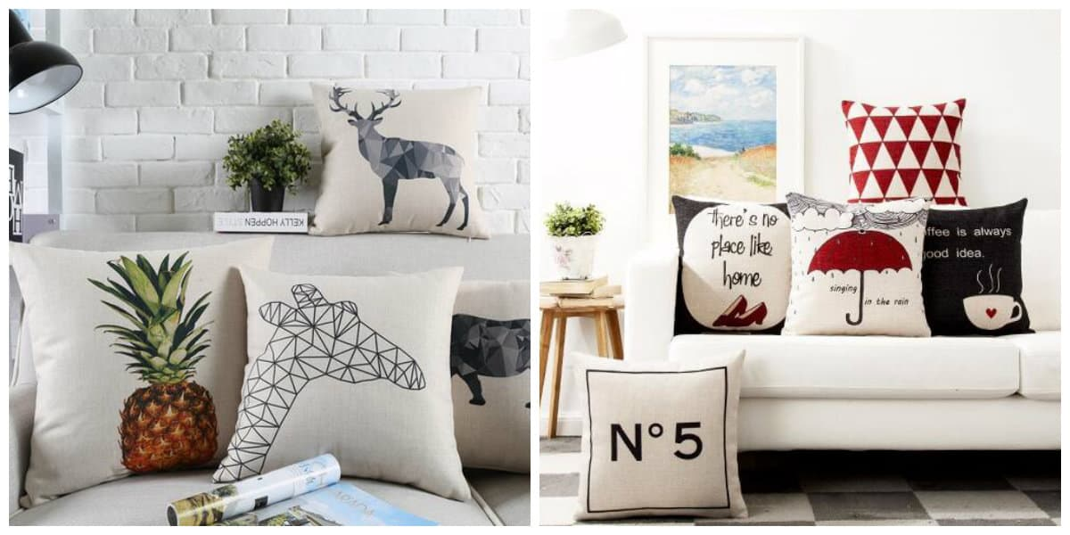 Scandinavian home design, pillows in Scandinavian home design
