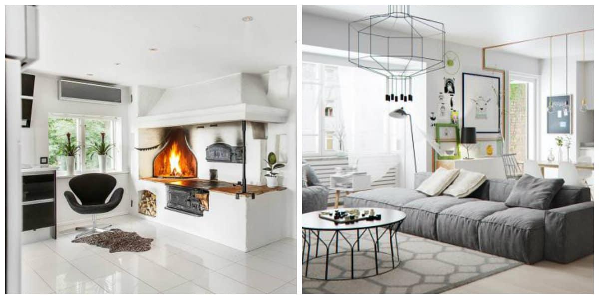 Scandinavian interior design, living room in Scandinavian interior design