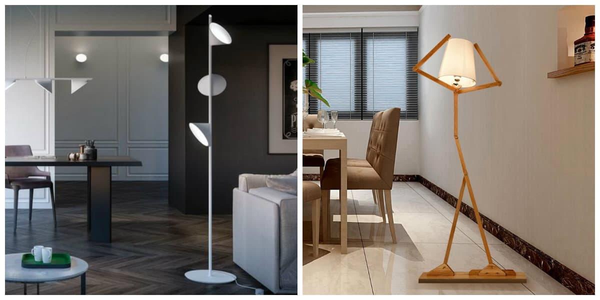 Scandinavian style chandeliers, floor lamps in Scandinavian style