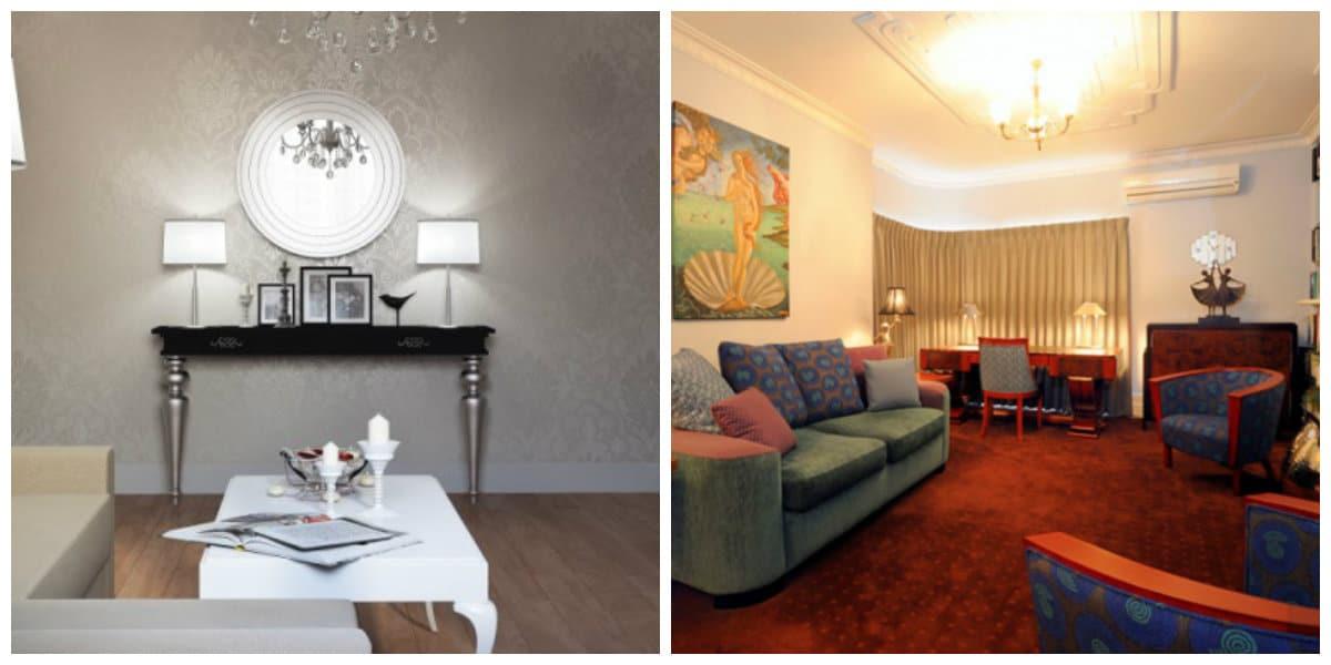 art deco interior style, symmetry in art deco interior style, illumination in art deco interior style