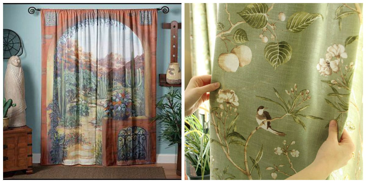 curtains in rustic style, American style rustic curtains